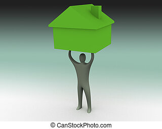 Its heavy - 3d person lifting a house