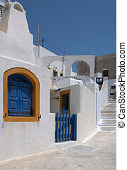 Greek shutters - The traditional Cycladean blue and white...