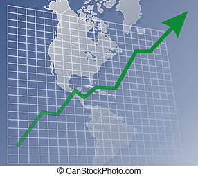 Chart Americas up - Chart with upwards arrow over a map of...