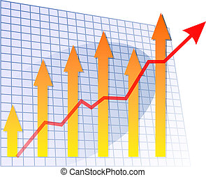 Chart arrows up - Bar chart with arrows going up