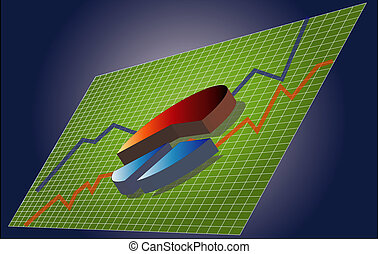 3dpie - 3d pie chart over business graphs