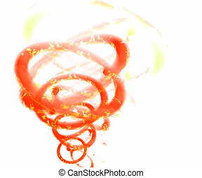 Vortex of Fire - A swirling vortex of fire on a white...