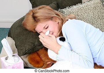 Allergies Cold Flu - Child on floor with pillows and tissue...