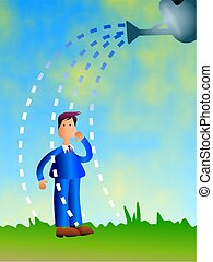 Watering Business - business man being watered