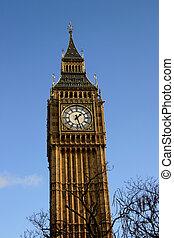 Big Ben I - Big Ben against blue sky.