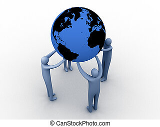 World union. - 3d people holding the globe.