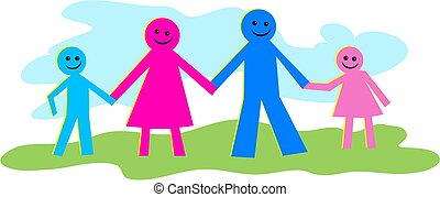 Happy Family - colourful happy family icon