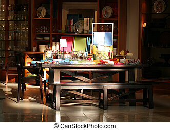Dining table with colorful settings on display