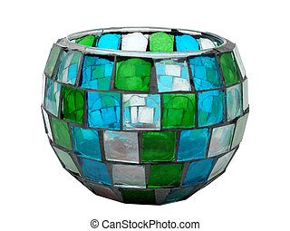 Antique Mosaic Bowl - Antique Stained-GlassMosaic Candle...