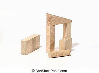Construction - Isolated blocks of wood symbolizing...