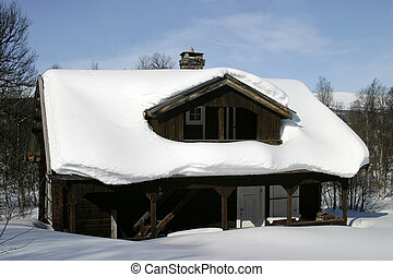 Winter Cabin - Wooden cabin, covered in a LOT of snow,...