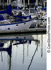 Harbor Blues - Boats tucked away in their blues