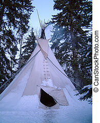 winter camping - indian tipi in snow.