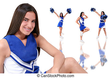 Cheerleader Teen - Three full body cheerleader poses with...