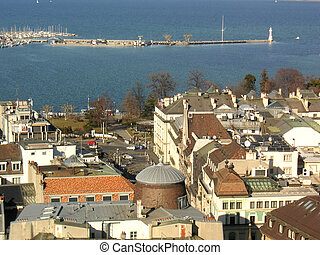 Shoreline Geneva - View of the shoreline of Lake Geneva, a...