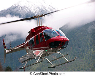 Helicopter landing,Bella Coola British Columbia