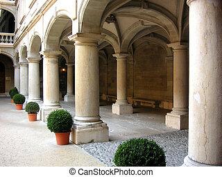 Stone pillars - Row of stone pillars in Geneva, Switzerland