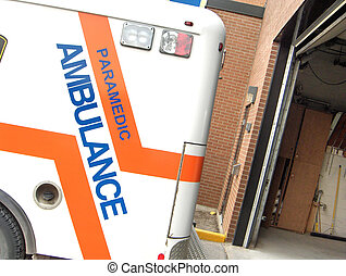 Ambulance - off kilter image of an ambulacne leaving the...
