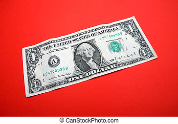 green on red - one dollar bill on red background
