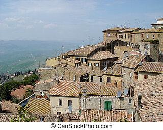 italian roofs - roofs of volterra, tuscany