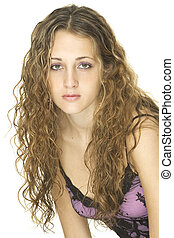 Youth - A young female model with great curly hair