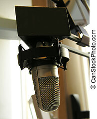 broadcast microphone - shot at the radio station