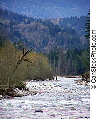 Chilliwack River - a fisherman on the Chilliwack River