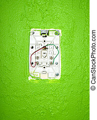 Get Connected - open phone jack on a green wall
