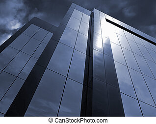 Stormy Corporate - Office Building and Storm Clouds