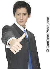 Thumbs Up - An asian businessman gives the thumbs up