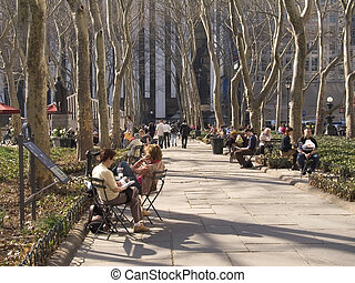 Bryant Park Early Sp - This is a shot of people enjoying a...