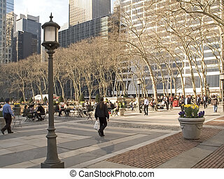Modern Park - This is Bryant Park in New York City which has...