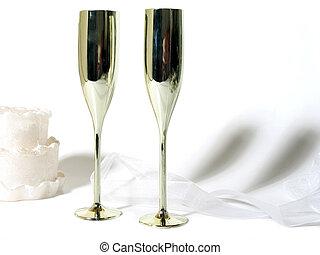 pastel, champaña