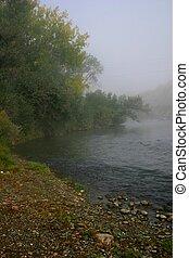 Misty Morning - Mist rises from Arkansas River