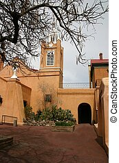 Iglesia - 300 year old adobe Mission in Albuquerque, New...
