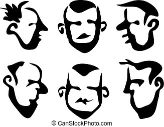 Wobbly Brush Faces - funky line art