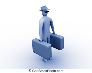 I'm on vacation - 3d person holding suitcases.
