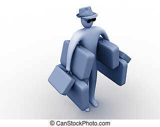 Heavy holidays - 3d person carrying many suitcases.