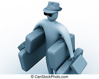 Heavy holidays - 3d person carrying many suitcases