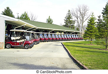 Golf Cart Lineup - A lineup of Golf Carts at the...