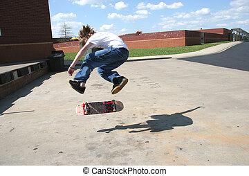 valiente, Skateboarder, hacer, 360, capirotazo