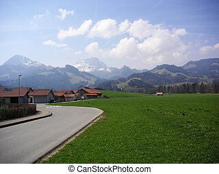 Swiss road - Roadside in the Swiss region of Gruyere; swiss...