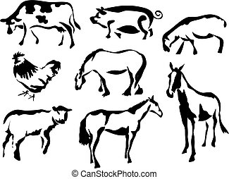 Farmyard Animals - wobbly brush style