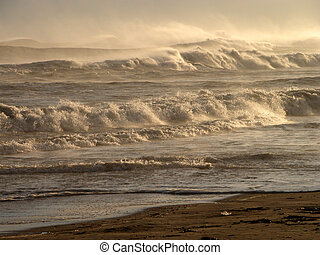 Mountains Of Waves - view of the ocean against the sunlight...