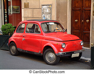 Red Italian mini ca - small retro italian car in Rome