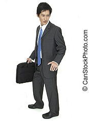 Indecisive - An indecisive asian businessman in grey suit