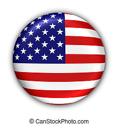 US Flag - World Flag Button Series - North America - United...