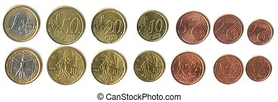Euro coins, all denominations from 1 Euro to 1 cent