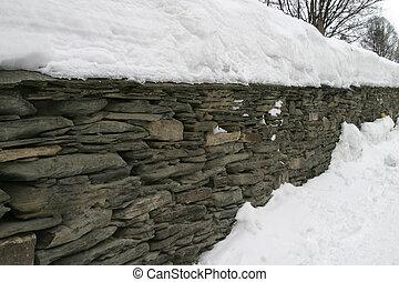 Rock Wall in Winter