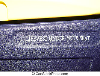 "lifevest - airplane-sign ""lifevest under your seat"""
